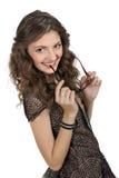Dziewczyna w czerń krótkiej sukni. zdjęcia stock