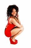 Dziewczyna w czerwieni sukni Zdjęcia Royalty Free