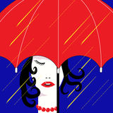 Dziewczyna w deszczu Zdjęcia Royalty Free