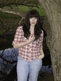 Dziewczyna w drewnach Obraz Stock