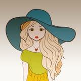 Dziewczyna w dużym lato kapeluszu z długim wspaniałym włosy royalty ilustracja