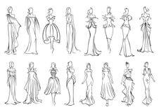 Dziewczyna w eleganckim wieczór i koktajl sukni ikonie royalty ilustracja