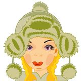 Dziewczyna w futerkowym kapeluszu Fotografia Royalty Free