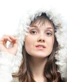 Dziewczyna w futerkowym kapeluszu Obrazy Royalty Free