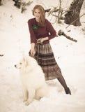 Dziewczyna z samoed psem Obraz Stock