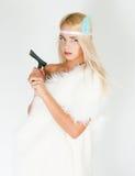 Dziewczyna w futerkowym przylądku z cioską Obraz Royalty Free