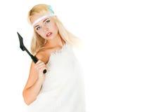 Dziewczyna w futerkowym przylądku z cioską Zdjęcia Stock