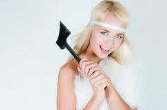 Dziewczyna w futerkowym przylądku z cioską Zdjęcia Royalty Free