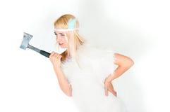 Dziewczyna w futerkowym przylądku z cioską Obrazy Stock