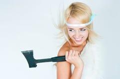 Dziewczyna w futerkowym przylądku z cioską Obraz Stock