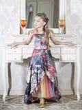 Dziewczyna w grzywna sukni Obraz Stock