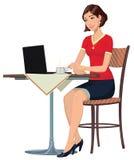 Dziewczyna w Internetowej kawiarni ilustracja wektor