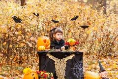 Dziewczyna w jesień lesie obrazy royalty free