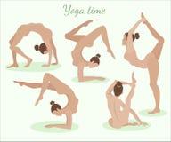 Dziewczyna w joga pozach obraz royalty free