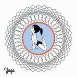Dziewczyna w joga pozie w abstrakcjonistycznym okręgu 3 Obrazy Stock