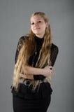 Dziewczyna w kapeluszowej i czarnej sukni Fotografia Royalty Free