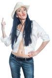 Dziewczyna w kapeluszowym pokazuje kciuku up. zdjęcie stock