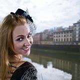 Dziewczyna w kapeluszu z przesłoną Zdjęcie Stock