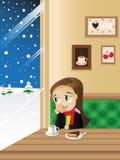 Dziewczyna w kawiarni royalty ilustracja