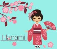 Dziewczyna w kimonie z Sakura okwitnięciami Fotografia Stock