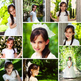 Dziewczyna w Komunia jej Pierwszy Dzień Obraz Stock