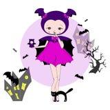 Dziewczyna w kostiumu nietoperz Zdjęcie Royalty Free