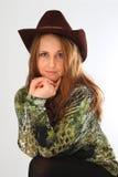 Dziewczyna w kowbojskim kapeluszu Obrazy Royalty Free