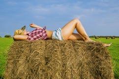 Dziewczyna w kowbojskim kapeluszu Zdjęcie Royalty Free