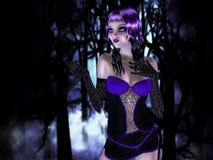 Dziewczyna w lesie przy nocą ilustracja wektor