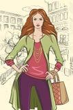 Dziewczyna w mieście Obrazy Royalty Free