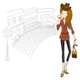 Dziewczyna w mieście Ilustracja Wektor