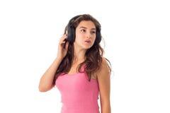 Dziewczyna w hełmofonach w studiu Zdjęcia Royalty Free