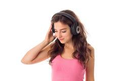 Dziewczyna w hełmofonach w studiu Fotografia Royalty Free