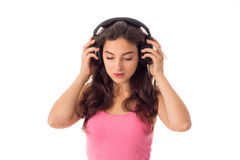 Dziewczyna w hełmofonach w studiu Zdjęcie Royalty Free