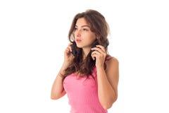 Dziewczyna w hełmofonach w studiu Obrazy Royalty Free