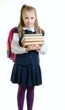 Dziewczyna w mundurku szkolnym z książkami Zdjęcie Stock