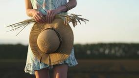 Dziewczyna w okularów przeciwsłonecznych stojakach w polu przy zmierzchem i trzymać złotych banatka kolce i słomianego kapelusz N zbiory