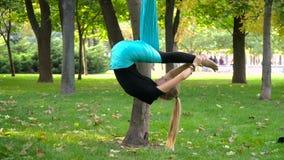 Dziewczyna w parku angażował w powietrzny joga Obraz Royalty Free