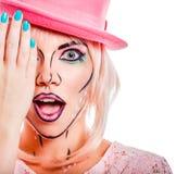 Dziewczyna w różowym kapeluszu w wystrzał sztuki stylu Obraz Royalty Free
