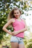 Dziewczyna w różowej kamizelce Obrazy Royalty Free