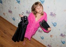 Dziewczyna w różowym bathrobe Obraz Stock