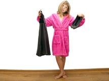 Dziewczyna w różowym bathrobe Zdjęcie Stock