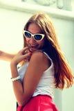 Dziewczyna w retro szkłach Fotografia Stock