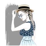 Dziewczyna w słomianym kapeluszu Zdjęcie Stock