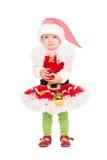 Dziewczyna w Santa pomagiera kostiumu Obraz Stock
