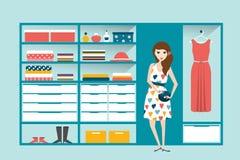 Dziewczyna w sklepie odzieżowym Butik salowy ilustracji