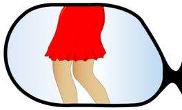 Dziewczyna w Skrzydłowym lustrze Fotografia Royalty Free