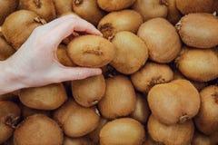 Dziewczyna w supermarkecie wybiera kiwi, zakończenie Żeńska ` s ręka wybiera kiwi w supermarkecie ręka trzyma kiwi na tle kiw obrazy royalty free