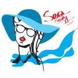 Dziewczyna w szaliku na wakacje i kapeluszu ilustracji