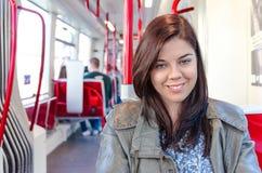 Dziewczyna w transporcie publicznym Obraz Stock